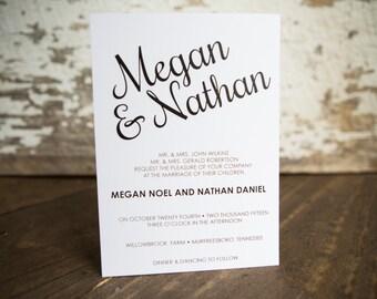 Wedding Inviation, Calligraphy Invitation- Modern Script Wedding Suite : A7 Wedding Invitations + RSVP + Coordinating Envelopes