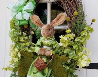 Bunny Wreath, Large Wreath, Easter Wreath, Front Door Wreath, Spring Wreath, Garden Wreath, Mother's Day Wreath, Elegant Easter Wreath