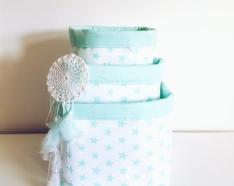 Stars, fabric storage basket, organizer, container.Nappy basket, toy storage, nursery decor, kids room.Mint green and white.Baby shower gift