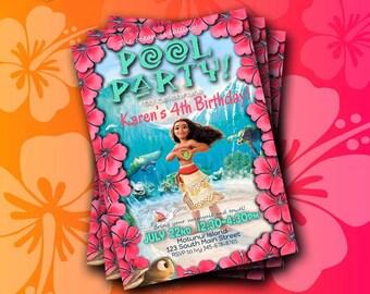Moana Invitation Instant Download; Moana Pool Party; Moana Themed Pool Party; Moana Birthday Invitation; Moana Pool Party Invitation;