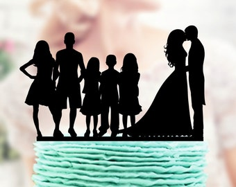 Bride and Groom with Children, Cake Topper, Couple with child Cake Topper , Family Cake Topper, Toppers silhouette