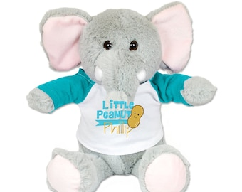 Plush Elephant with Customized Name and Little Peanut Shirt (You can pick any art in our store)