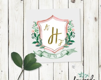 Wedding crest, watercolor crest, custom wedding crest