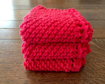 KNITTED WASH CLOTHs, spa washcloth, baby, tote bag washcloth, gift for her, gift for him,  3 pk RED, Cotton Simple, stocking stuffer