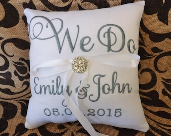 Ring Bearer Pillow, Embroidered ring bearer pillow, wedding pillow, bridal pillow, ring pillow, custom ring pillow, personalized pillow