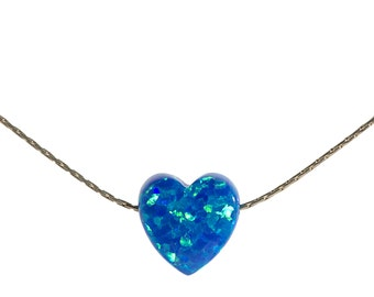 SALE Blue Opal heart necklace, opal necklace, heart opal necklace , white opal, luck necklace, gold filled, heart opal ,Gift for her