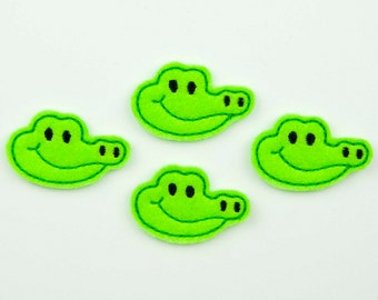 GATOR BOY - Embroidered Felt Embellishments / Appliques - Green & Black  (Qnty of 4) SCF6105