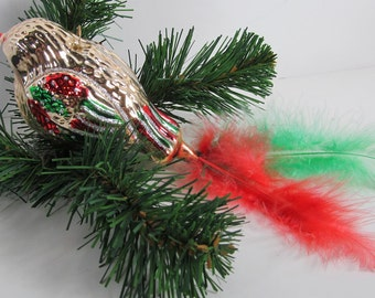 "Glass 030 Bird Gold with Green & Gold Wings Feather Tail 8-1/2"" Large Ornament Vintage Decoration"