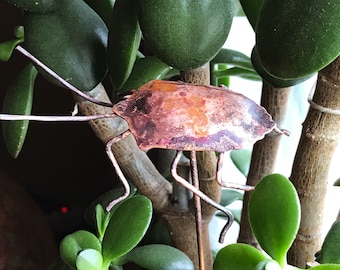 Copper Stink Bug Plant Stake, Shield Bug Garden Decoration