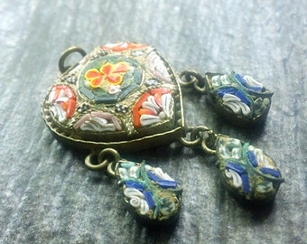 Vintage Antique MicroMosaic Heart Dangle Pendant, Jewelry gift for her
