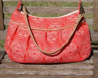 Organic Red Ripple Retro Modern Buttercup Bag w/Cork Handle