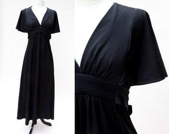 Vintage 70s Dress / Vintage Saks Fifth Avenue Young Dimensions Black Maxi Dress