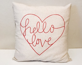 Hello love, Valentine's Day pillow, valentine's day decor, throw pillow, love pillow, wedding gift