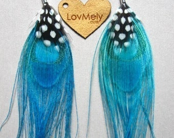 Turquoise- peacock feather earrings