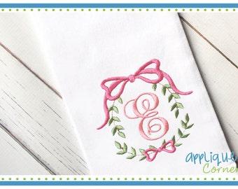 Ribbon Monogram Frame 3423 digital design for embroidery machine by Applique Corner