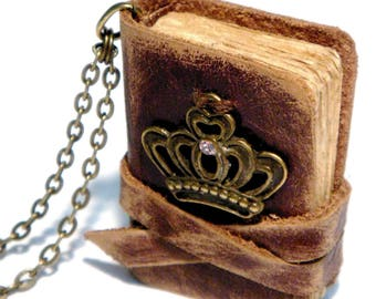 Mini Leather Book Pendant - RICHARD - Old leather - Victorian style - Vintage paper - 3x4 sm