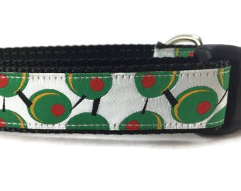 Dog Collar, Olives, 1 inch wide, adjustable, quick release, metal buckle, chain, martingale, hybrid, nylon