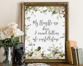 My thoughts are stars, The Fault in Our Stars printable wall art, Augustus Waters Quote, Fault in Our Stars Quote literary Quote print Art