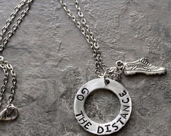 Go The Distance Necklace, Running Jewelry, Track and Field, Long Distance Runner, Cross Country Sterling Silver Necklace, High School Team