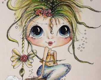 INSTANT DOWNLOAD Digital Digi Stamps Big Eye Big Head Dolls NEW Bestie img667 Mermaid Besties By Sherri Baldy
