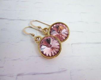 Gold & Light Pink Earrings -- Soft Pink Earrings -- Light Rose Swarovski Crystal Earrings -- 12mm Pink Drop Earrings -- Pink Rivoli Dangles