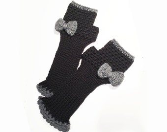 Crochet Fingerless Gloves, Arm Warmers, Mittens, Fingerless Mitts with Bows - Made to Order - Custom Colors - FRISKIES