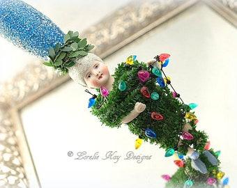 Stringing Up The Lights Art Doll Ornament Christmas Bulb Light Holiday Tree Decoration Lorelie Kay Original
