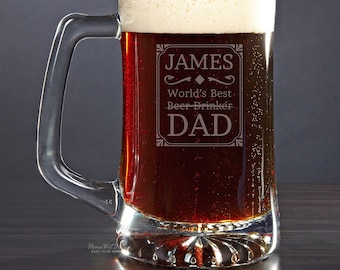 Custom Beer Mug Best Dad Award- Father's Day Beer Mug Gift, Man Cave, Gifts For Dad