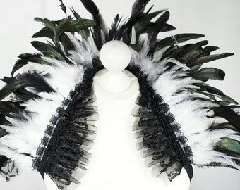 Black white feather shouldercollar with lace and tulle and pearls, black white feather collar with lace & tulle + beads