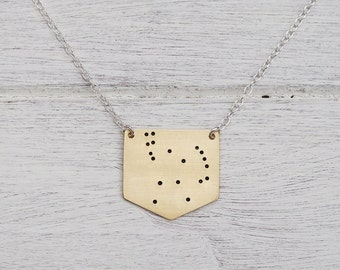 Orion Constellation Necklace in Brass or Sterling Silver