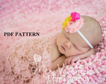 Crochet Pattern - Lovely Lace Mohair Wrap - Newborn photo prop - PDF Pattern