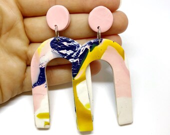 SALE - Polymer clay statement dangle earrings