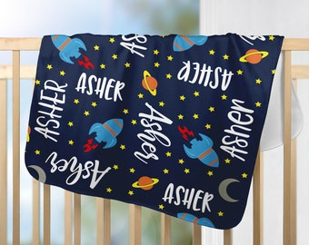 Personalized Baby Blanket, Boys Blanket with Name, Rocket Baby Blanket, Personalized Blankets, Plush Baby Blanket, Personalized Gift