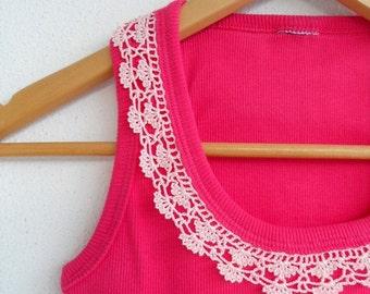Womens Top, Crocheted Lace Shirt, Cotton Shirt, Fuchsia And Soft Powder Pink Spring Fashion