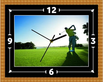 Golf Swing Clock Gift Present Christmas Birthday Clubs Sport Olympics (Can Be Personalised)