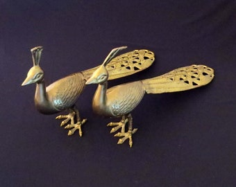 "Vintage BRASS PEACOCK & PEAHEN Figures/Statues / 18"" Long w Beautiful Tails / Made in Korea during 60's or 70's / Great Home Decor Accent"
