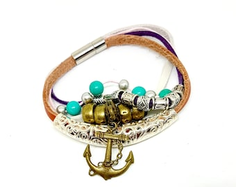 Leather bracelet layered bracelet turquoise beads anchor charm magnetic clasp handmade genuine leather bracelet