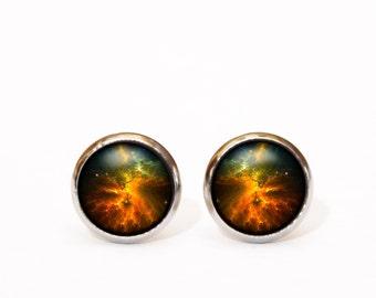 Space Jewellery, Celestial Jewelry, Galaxy Earrings, Tiny Stud Earrings, Space Earrings, Astronomy Gift, Orange Earrings, Nebula Earrings