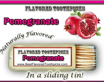Pomegranate Flavored Toothpicks - 70+ Flavors! Best Man Gift Ideas, Party Favors, Birthday Party, Teachers Gifts,Pomegranate Oil, Candy, Red