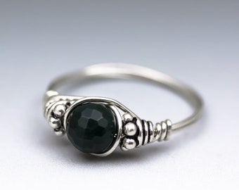Bloodstone Faceted Bali Sterling Silver Wire Wrapped Gemstone Bead Ring - Made to Order, Ships Fast!