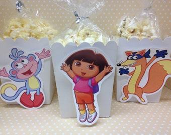 Dora Party Popcorn or Favor Boxes - Set of 10