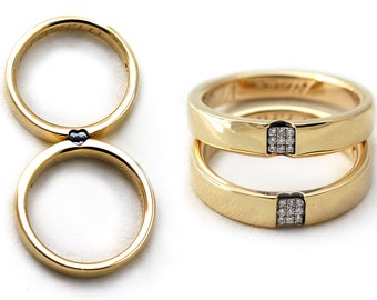 Wedding bands unique sets, Dainty Promise ring for him solid gold, Love rings, White diamonds , Heart shape wedding rings, Men wedding band