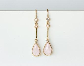 649 Pink crystal earrings, CZ crystal earrings, Gold wedding Jewelry, Gold jewelry, Wedding earrings, Earrings Blush Pink, Crystal earrings.