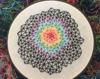 "Rainbow Joy - Geometric Triangle Zen Stitching - 6"" Hand Embroidery"