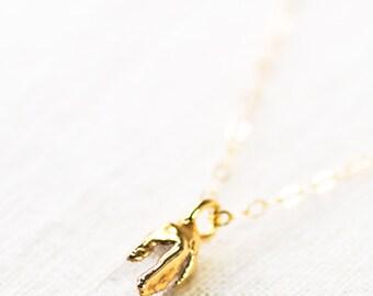 Hokupa'a Jr. necklace - gold quartz pendant necklace, pendant necklace, quartz point necklace, crystal necklace, boho necklace, maui, hawaii