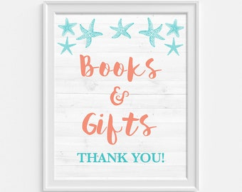 Books and Gifts Shower Sign, Aqua and Coral Beach Baby Shower Sign, Nautical, INSTANT PRINTABLE