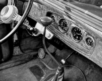 Old Car Interior Photo, HDR photograph, Black and white wood, fine photography prints, The Workhorse