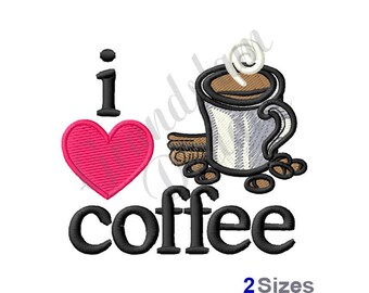 I Love Coffee Cup - Machine Embroidery Design