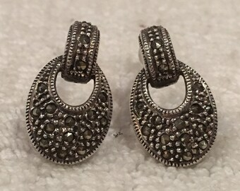Absolutely Beautiful Vintage ART DECO Style Sterling Silver Post-Stud Earrings- Beautiful MARCASITES All over-Elegant 2cm Drop