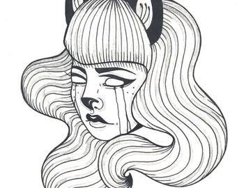 Cat Lady Print- print of original illustration, black ink